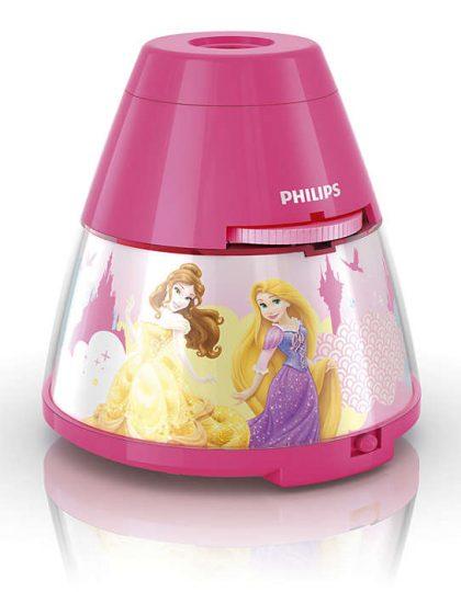 Proyector Princesas ,esta lámpara de Philips para el dormitorio de tus hijos crea un ambiente que hace que los niños se dejen llevar por aquello de lo que más disfrutan: ¡diversión y creatividad!. Una lámpara de sobremesa fabricada con material sintético y que es,totalmente segura para los niños. Sirve como luz de noche y también proyecta diapositivas en el techo de los personajes de Star Wars favorito de tus hijos, se proporcionan con el producto 3 discos con 8 diapositivas cada uno,incorpora un interruptor con las funciones : luz de noche / apagado/ proyector , para que puedas elegir fácilmente. La tecnología Led integrada en esta lámpara de iluminación, es una solución desarrollada en exclusiva por Philips. Permite disfrutar de un flujo luminoso óptimo y correcto, el consumo del led es de 0,3 watios Proyector Princesas funciona con 3 pilas AA ( no van incluidas en el producto) lo cual lo hace perfectamente seguro para los niños, ya que no se conecta a la corriente. Sus medidas son , 11,5 centímetros de diámetro y 11,8 centímetros de alto